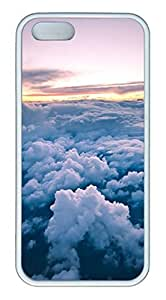 iPhone 5S Case, Unique Protective Design Soft TPU White Edge Beauty Clouds Case Cover for iPhone 5/5S