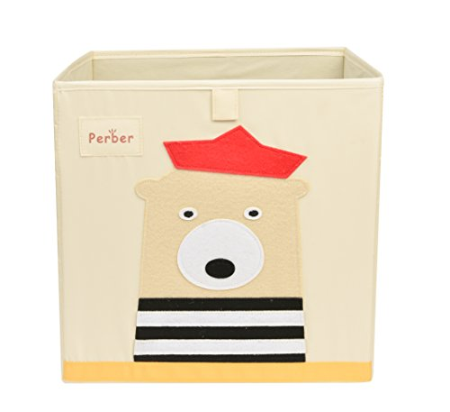 """Perber Collapsible Storage Cubes Bin 13""""x13""""x13"""",Decorative Foldable Oxford Storage Box Baskets Containers- Large Organizer for Nursery Toys,Kids Room,Towels,Baby Clothes, Beige- Bear - ★Made of high quality Oxford Cloth.Environmental materials don't harm you and your family. ★Fits most cube shelving units. ★2.3 cardboard is not easy to distorted.Durable boxes can last longer than regular cubes. - living-room-decor, living-room, baskets-storage - 410W6SCQdRL -"""