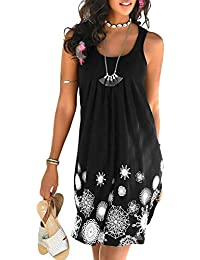Women Halter Neck Boho Print Sleeveless Casual Mini...
