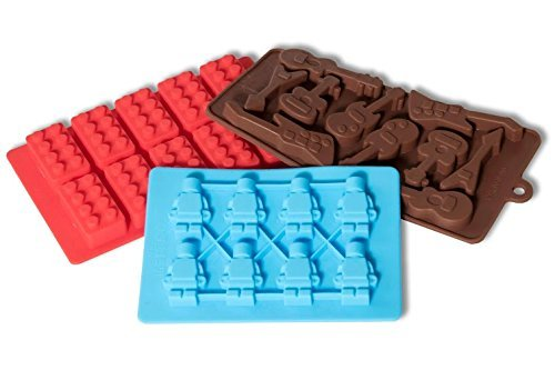 Ice Cube Tray Silicone and Candy Mold 3-Pack includes Guitars, Legos, Robots. Durable, Flexible and Easy-to-use for Parties and Kids Play.