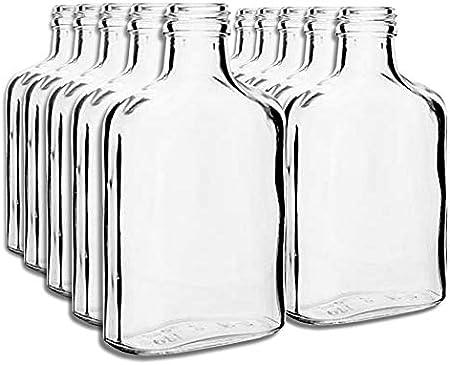10botellas de bolsillo de 100ml con tapones dorados de rosca, para vino, whisky o licores