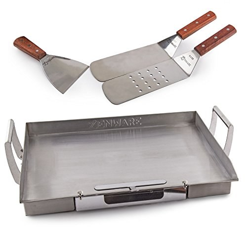 "Zenware Stainless Steel Universal 16.75"" x 13"" Teppanyaki Griddle for BBQ Grills w/ Utensil Set"