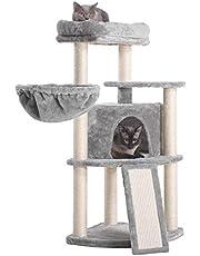 Hey-brother Drapak drzewo dla kota, 103 cm, ze słupkami sizalowymi i deską do drapania, wieża dla kotów z wyściełaną pluszową wyściółką i przytulnym koszem MPJ003