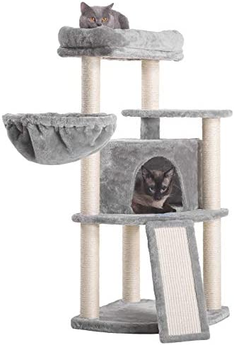 Hey-bro 40.5 inches Cat Tree with Full Sisal Posts and Scratching Board, Cat Tower with Padded Plush Perch and Cozy Basket