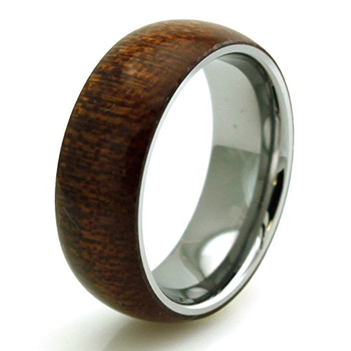 125 Walnut (Stainless Steel Mahogany Wood Inlay Domed Ring, Size)