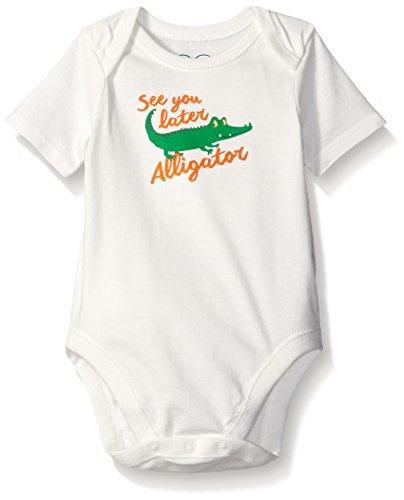 The Children's Place Baby Alligator Bodysuit, Simply White, 0-3 Months (Onesie Alligator)