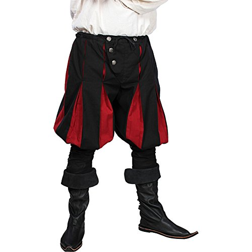 Epic Armoury Armor Venue: Medieval Landsknecht Pants - Medieval Trousers (Large, Dark Red and Black)