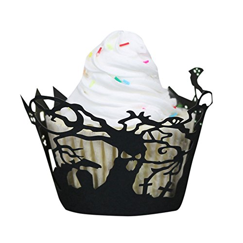 Yamally_9R Halloween Pumpkin Cake Cup Lace Laser Cut Cupcake Wrapper Liner Baking Cup Muffin (Twelve Cupcakes Halloween)