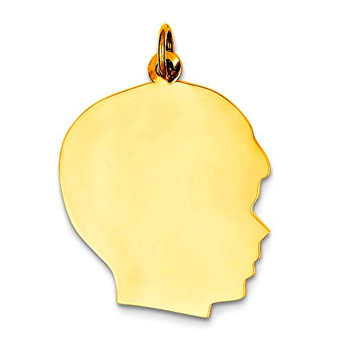 14k Boy Head - 14K Yellow Gold Male Head Charm, 12 x 21 mm