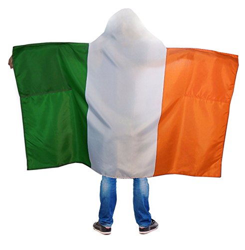 Irish Flag Body Cape For St. Patrick's Day - 100% Polyester - Green, White & Orange Stripes - With Hood - Soft & Comfortable - Gives Festive Feel - Stays In Place While You Have Fun & Get Drunk ()