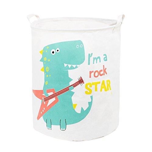 Zonyon Collapsible Laundry Hamper, 19.7'' Jumbo Large Dirty Clothes Laundry Storage Basket for Kids,Boys,Girls,Toys,Closet,College Dorm,Bathroom,Cute Rock Dinosaur