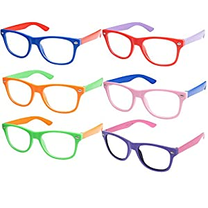 Kids Nerd Retro Two Color Frame Clear Lens Childrens Fake Eye Glasses (Age 3-10) All Colors 6 Pack