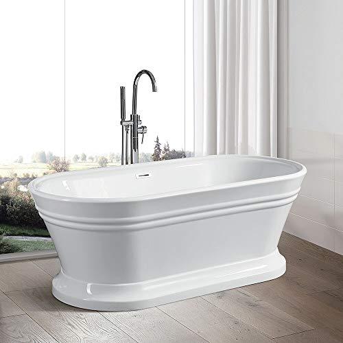 Vanity Art 59- Inch Freestanding Acrylic Bathtub | Modern Stand Alone Soaking Bathtub with Polished Chrome, UPC Certified, Slotted Overflow & Pop-up Drain - VA6610-S