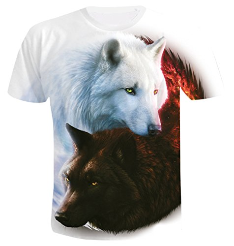 Unisex Fashion 3D Print T-Shirts Animal Pattern Graphics Short Sleeve Tees for Mens Womens Red and White Twin Wolves 2XL by AIEOE