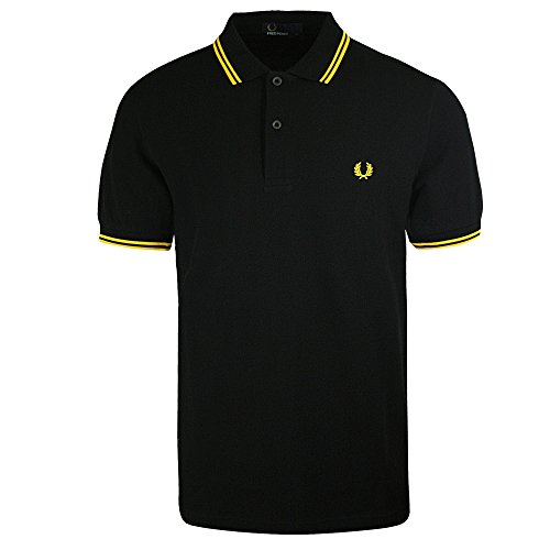Fred Perry - Polo Black Double Band Yellow Man - S, - Pique Fred Perry Black