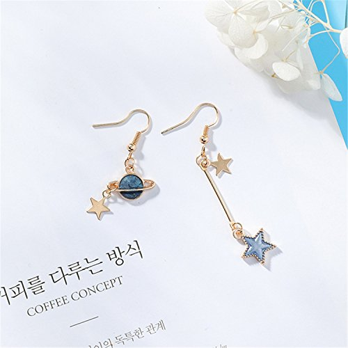 NEW Creative Blue Universe Asymmetric Earrings For Girl Ear Accessories Cute Moon Star Drop Pendientes Tassel Brincos -