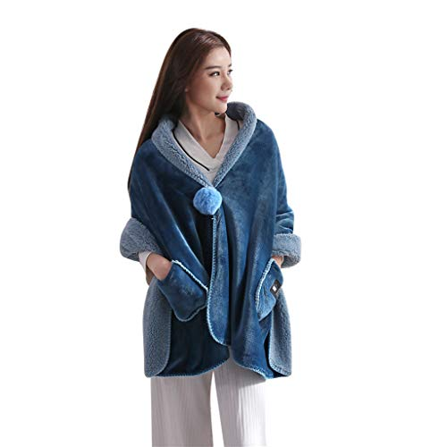 Iusun Softable Scarf Wrap Blanket Multifunction Versatile Lazy Shawl Flannel Shoulder Warm Home Office Bedroom Car Trip Subway Plane Festival Gift for Women Lady Winter Cool Weather Use (B) (Subway Scarf)