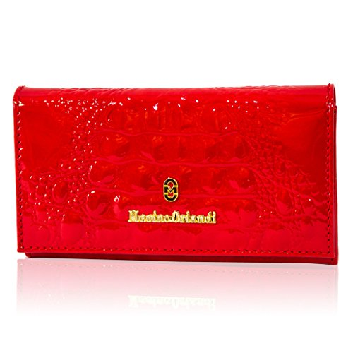 Lined Patent Leather Clutch - Marino Orlandi Italain Designer Red Alligator Patent Leather Wallet Clutch
