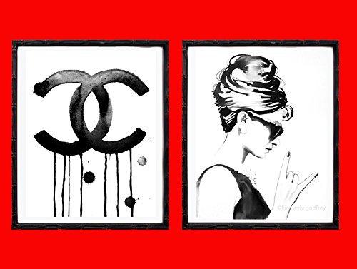Set of 2 B&W Art Prints Fashion Icons Audrey Rocks 1960s Illustrations of Original Watercolor Dripping Paint Salon Decor - The Icons Originals