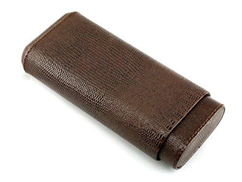 Skyway Devon Snake Leather Cigar Case Holder with Cedar Lining - Brown