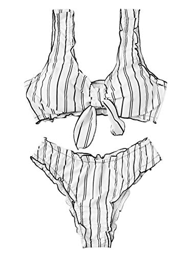 (SweatyRocks Women's Sexy Bathing Suit Tie Knot Striped Wavy Brazilian Swimwear Bikini Set White S)