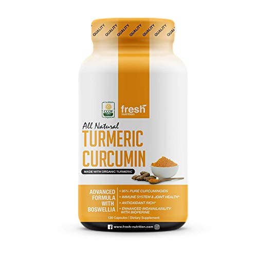 Organic Turmeric Curcumin with Added Boswellia & Bioperine for Potent Joint & Inflammation Support - Best Natural Joint Pain Relief - 60 Servings - Organic - Non GMO - Vegan NO Gluten