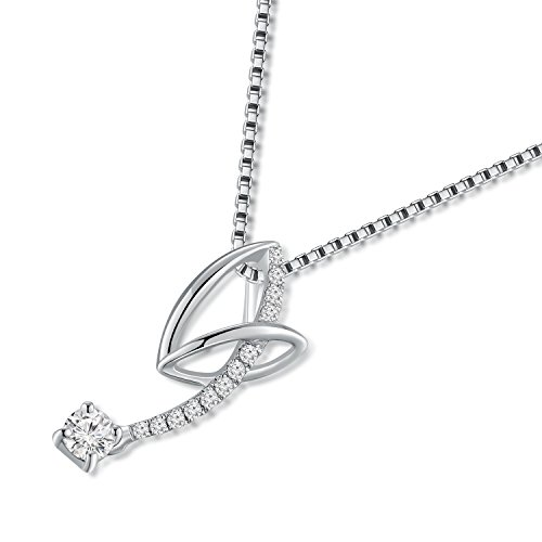 Or blanc 18ct 750avec diamant Pendentif nœud infini en argent sterling 925Chaîne de 40,6cm/40cm (0,13CT, G-H Couleur, Vs1-si2Clarté) Femme Bijoux Cadeau Saint Valentin