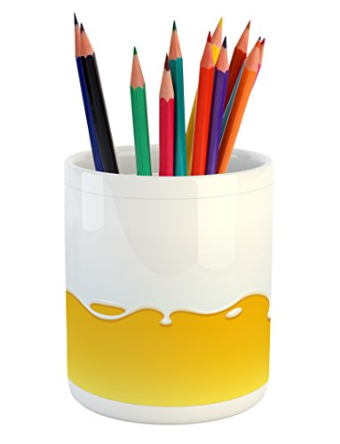 Ambesonne Yellow and White Pencil Pen Holder, Dripping White Milk Cream Paint Yogurt on Yellow Honey Background Print, Printed Ceramic Pencil Pen Holder for Desk Office Accessory, Yellow White