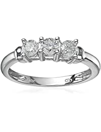 10k White Gold 3-Stone Diamond Ring (1/2 cttw, H-I Color, I2-I3 Clarity)