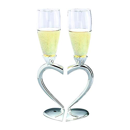 UWS Toasting Goblets With Heart Shaped Separating Base & Stem