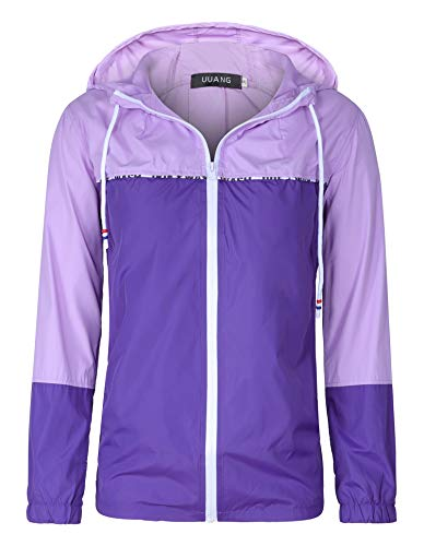 Purple Windbreaker - UUANG Women's Lightweight Waterproof Packable Rain Jacket Hooded Girls Raincoat Outdoor Colorblock Windbreaker for Traveling, Cycling, Hiking (Light Purple/Dark Purple, Medium)