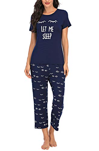 BEIYIHOME Womens Pajamas Set Short Long Sleeve Sleepwear Capri Pjs Sets Soft Printed Loungewear with Pockets