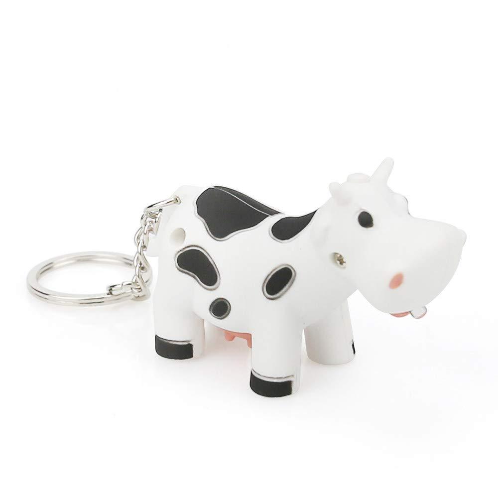 Emerayo Cute Animal Keychain Flashlight Kids Toy Gift with LED Light and Sound Keyfob (White Cow, One)