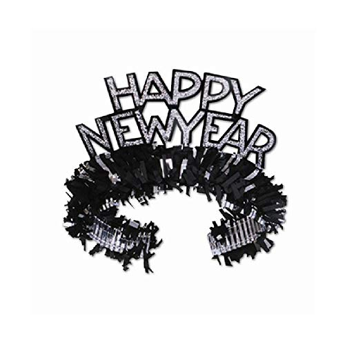 Bargain World Black and Silver Happy New Year Regal Tiaras - Pack of 50 (with Sticky Notes)