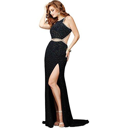 Jovani Embellished Open Back Formal Dress Black 10