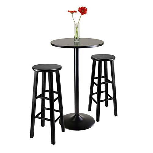 Winsome Obsidian Pub Table Set - Black Bar Height Table