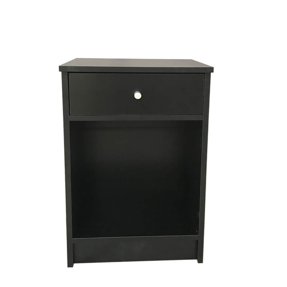 CHOCITY Night Table, 15mm Density Board One Drawers Round Handle Bedside Side Rack Cabinet Black by CHOCITY