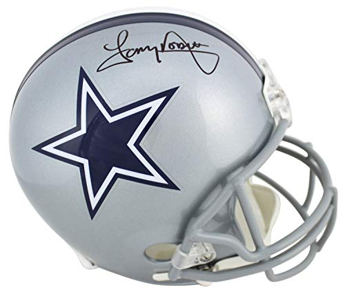 (Cowboys Tony Dorsett Autographed Signed Silver Full Size Rep Helmet Bas Witnessed - Certified Signature)