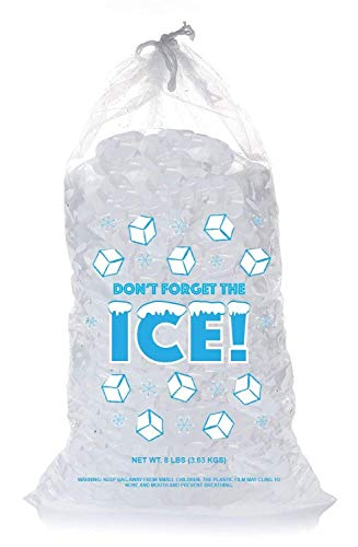 (Plastic Ice Bags 8 Lb with Draw String - Pack of 50)