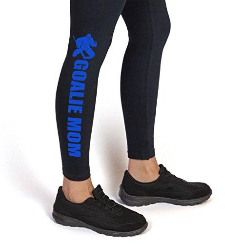 Goalie Mom with Silhouette Leggings | Hockey Leggings by ChalkTalk SPORTS | Adult X-Large | Blue ()