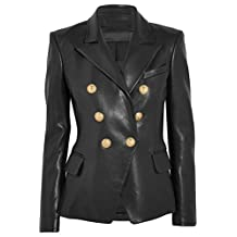 Leather Hubb Leather Jacket Women's Black Leather Blazer Coats Jacket GoldenButton