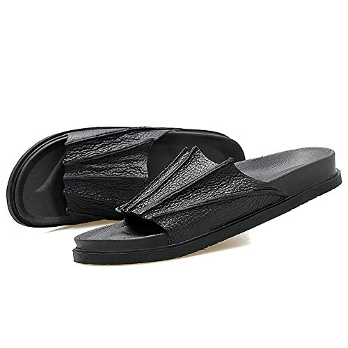 Lapens Leather Casual Fashion Comfort Comfort Sandalia Negra