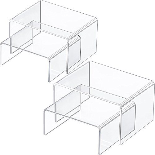 Chuangdi 4 Pieces Clear Acrylic Display Risers, Jewelry Display Risers Showcase Fixtures, Tear Off The Protective Film Before Use (4.1 Inch and 3.3 Inch) by Chuangdi