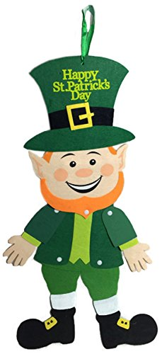 Saint Patrick's Day Decor ~ Smiling Jointed Felt Leprechaun Hanging Decoration