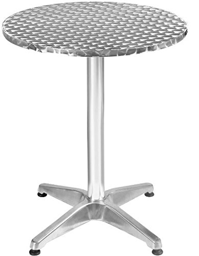 K&A Company Round Steel Patio Table Indoor Outdoor Restaurant Furniture Aluminum Stainless Steel Bistro by K&A Company (Image #5)
