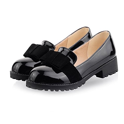 Mid Womens On Toe Heel Milesline Slip Loafer Sweet Shoes Leather Bow Patent Black Round vxHdnwqU