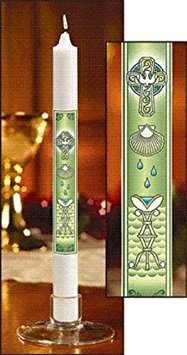 Baptismal Candle - Holy Dove with Shell 12 Inch Straight Side Taper Candle for Baptism Ceremony