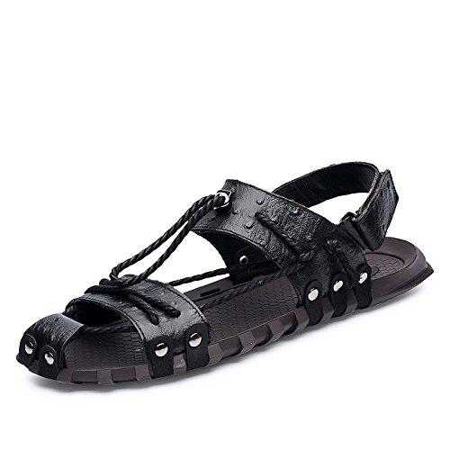 Sommer Neue Sandalen Persönlichkeit Strand Schuhe Mode Handbuch Schuhe Weiche Unterseite Freizeit Männer Sandalen, schwarz, UK = 8.5, EU = 42 2/3