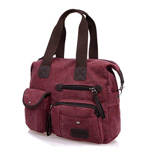 Tiny Women Handbag Unisex red Zipper Crossbody Sports Duffel Chou Bag Vintage Men Leisure Canvas Tote Claret FraFwq1