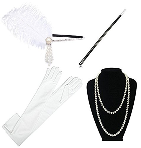 1920s Accessories Headband Necklace Gloves Cigarette Holder Flapper Costume Accessories Set for (White Flapper Costumes)